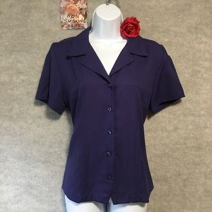 DRESSY PURPLE BUTTON TOP WITH PIN TUCKING & COLLAR